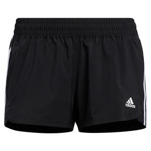 Women`s Pacer 3-Stripe Woven Training Short Black and White