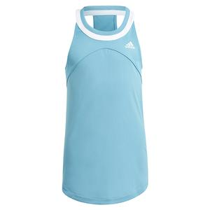Girls` Club Tennis Tank Hazy Blue and White