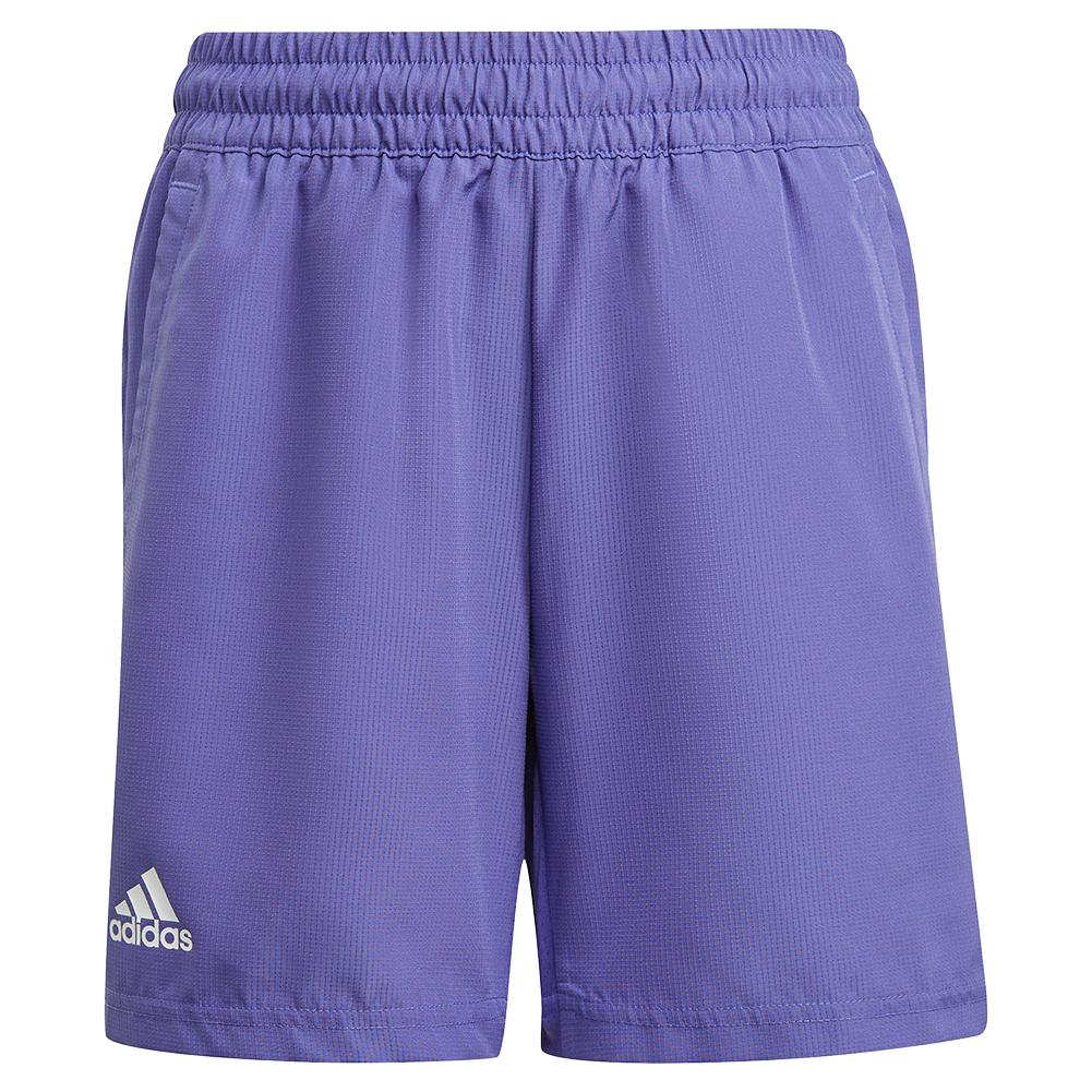 Boys ` Club 5 Inch Tennis Short Purple And White