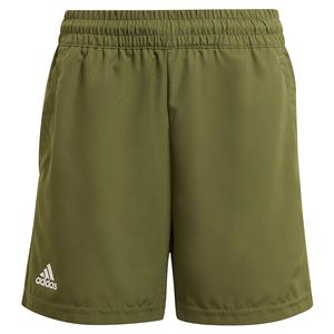 Boys` Club 5 Inch Tennis Short Wild Pine and White
