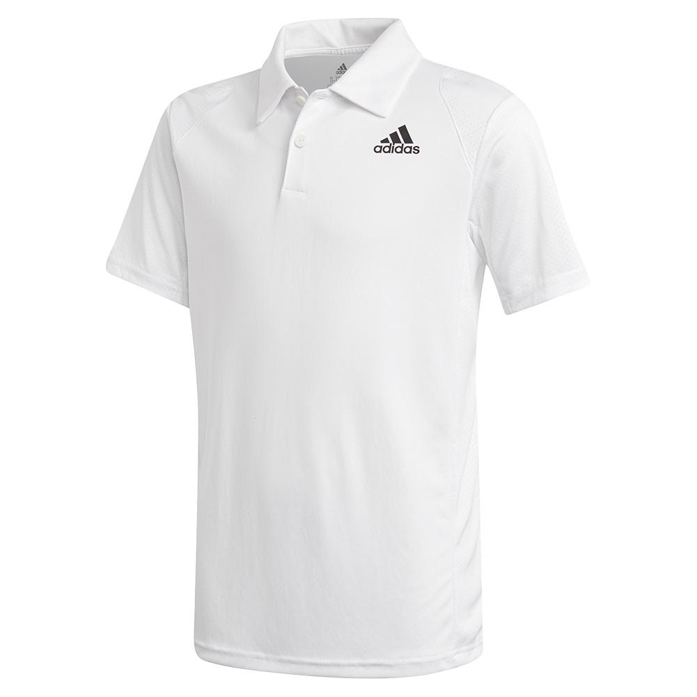 Boys ` Club Tennis Polo White And Black