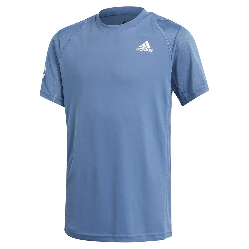Boys ` Club 3- Stripe Tennis Tee Crew Blue And White