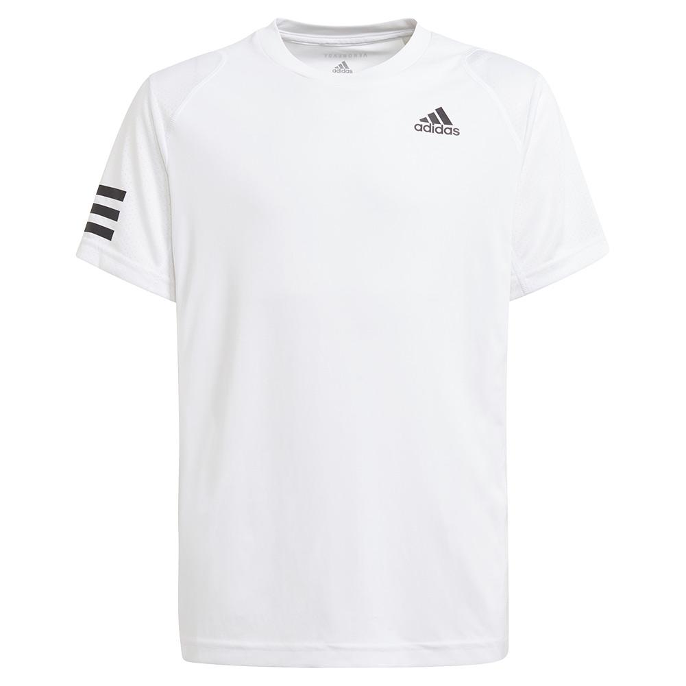 Boys ` Club 3- Stripe Tennis Tee White And Black