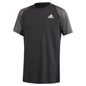 Boys` Club Tennis Top Black and Grey Six