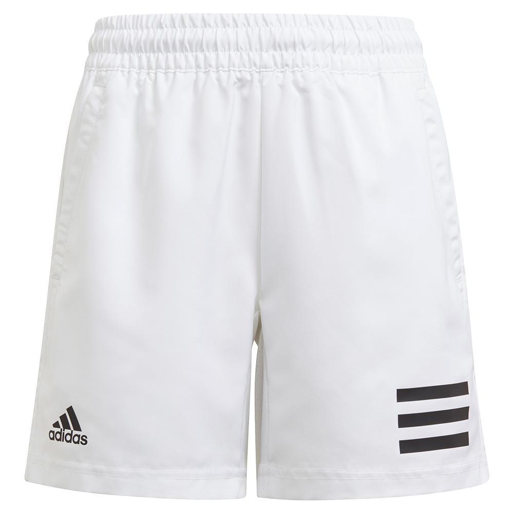 Boys ` Club 3- Stripe 5 Inch Tennis Short White And Black