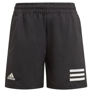 Boys` Club 3-Stripe 5 Inch Tennis Short Black and White