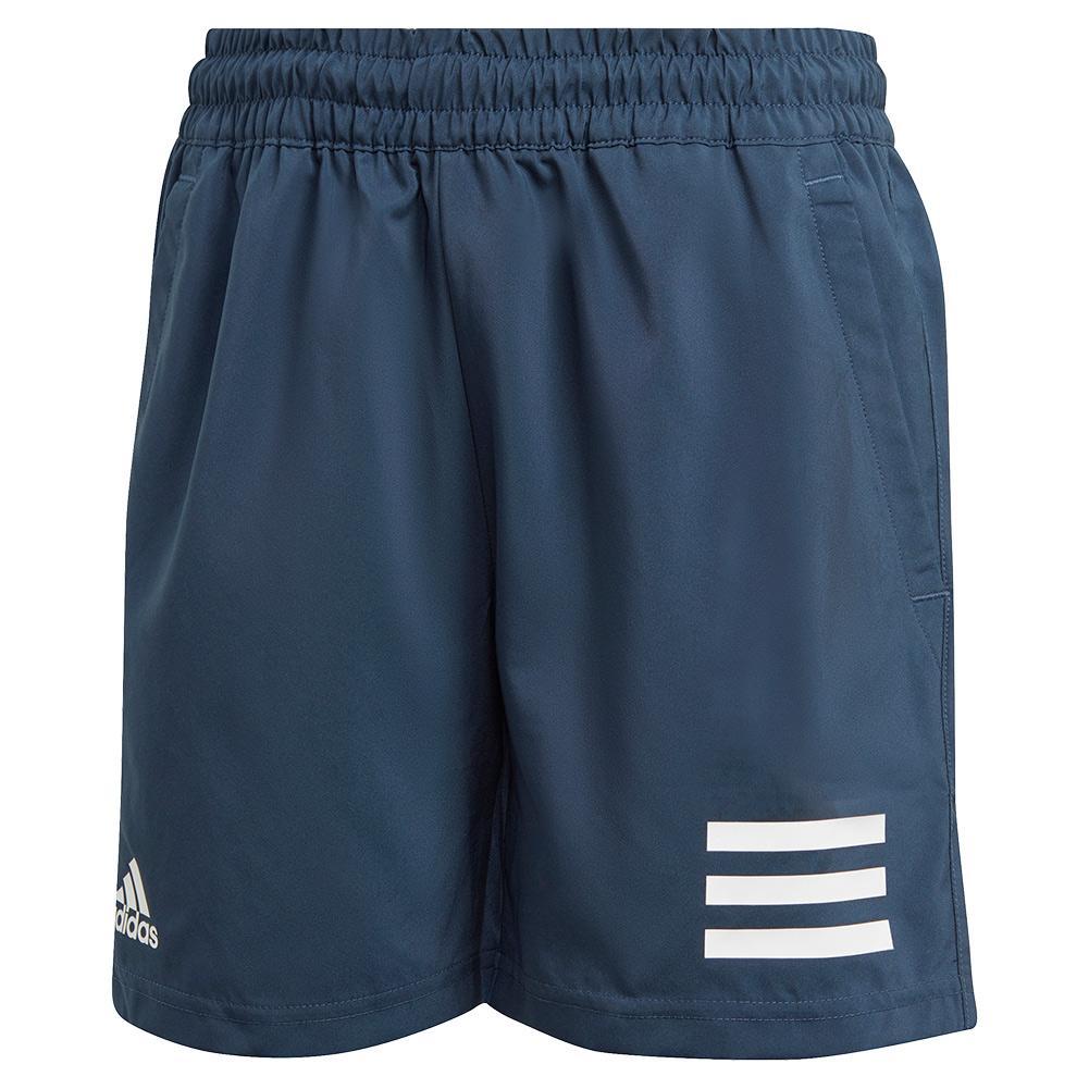 Boys ` Club 3- Stripe 5 Inch Tennis Short Crew Navy And White