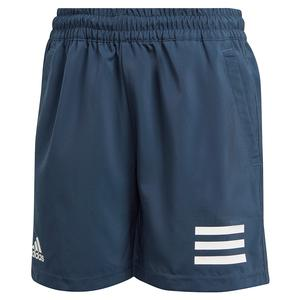 Boys` Club 3-Stripe 5 Inch Tennis Short Crew Navy and White