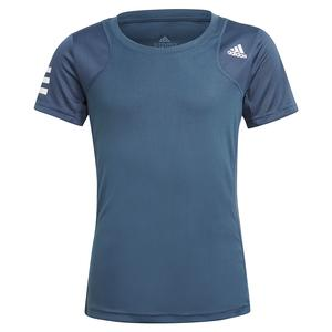 Girls` Club Tennis Top Crew Navy and White