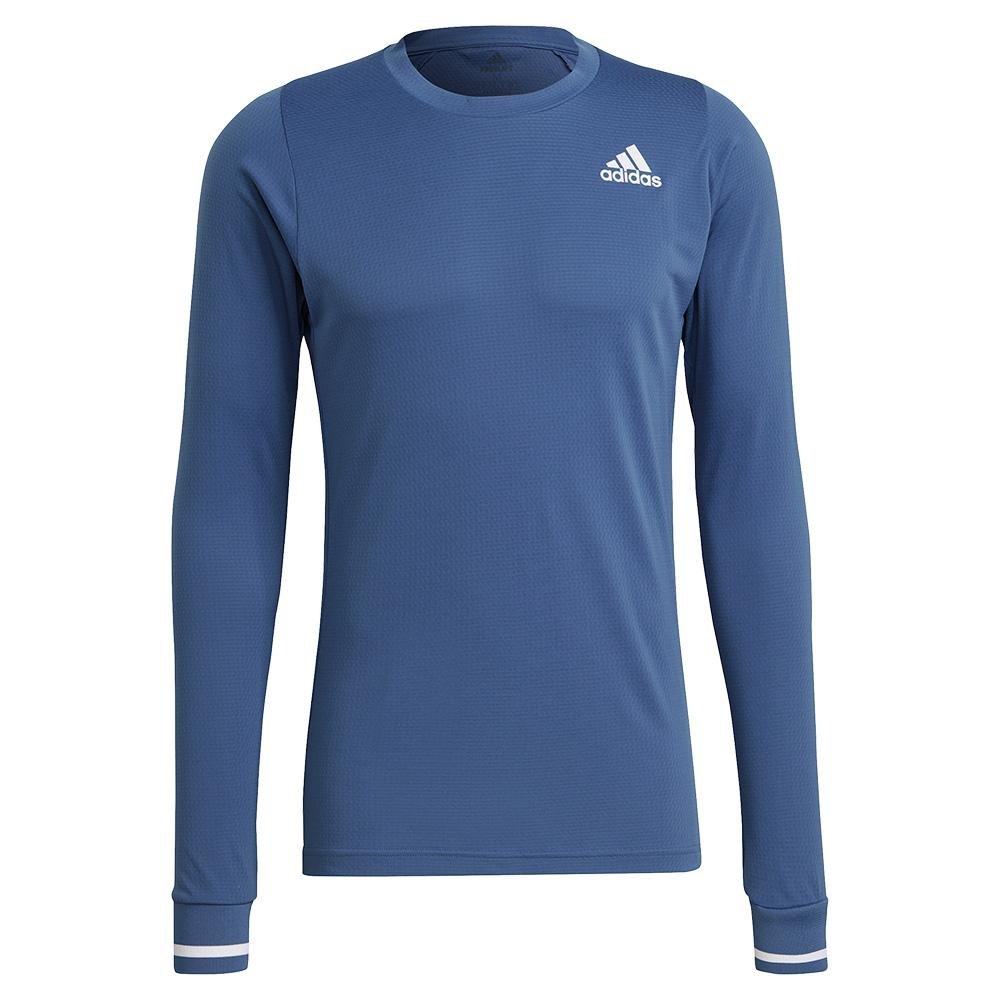 Tennisexpress Men`s FreeLift Long Sleeve Tennis Top Crew Blue and White