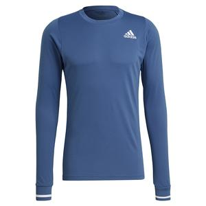 Men`s FreeLift Long Sleeve Tennis Top Crew Blue and White