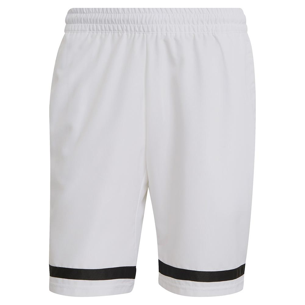 Men's Club 9 Inch Tennis Short White And Black