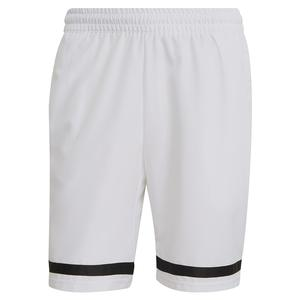 Men`s Club 9 Inch Tennis Short White and Black