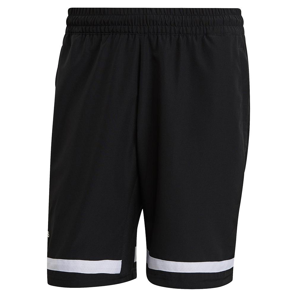 Men's Club 9 Inch Tennis Short Black And White