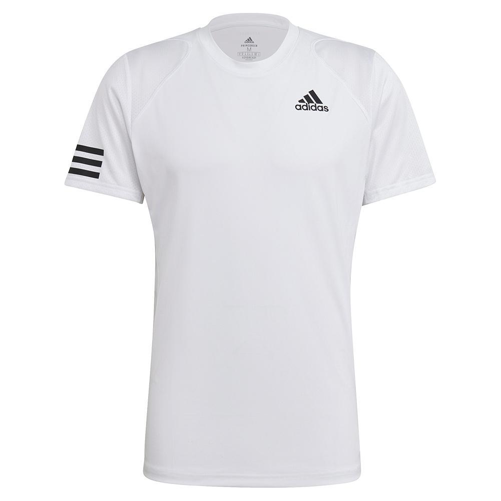 Men's Club 3- Stripe Tennis Top White And Black