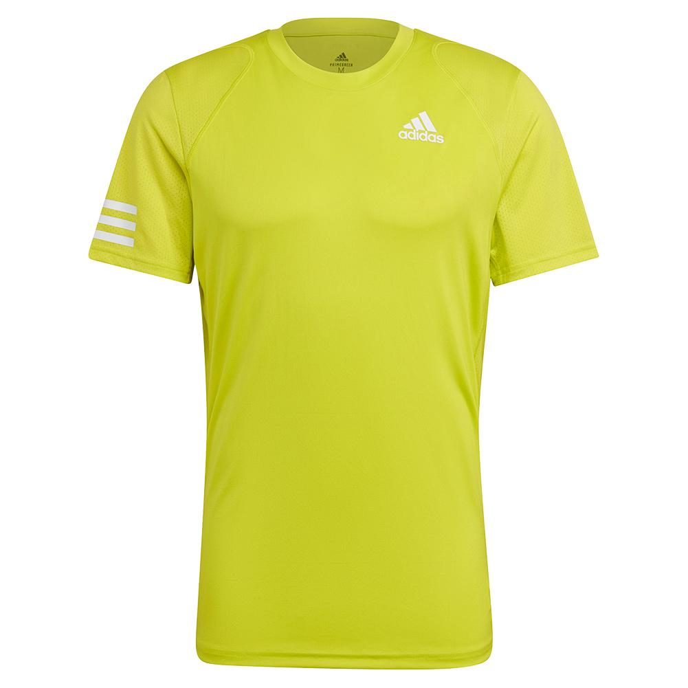 Men's Club 3- Stripe Tennis Top Acid Yellow And White
