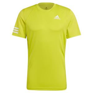 Men`s Club 3-Stripe Tennis Top Acid Yellow and White