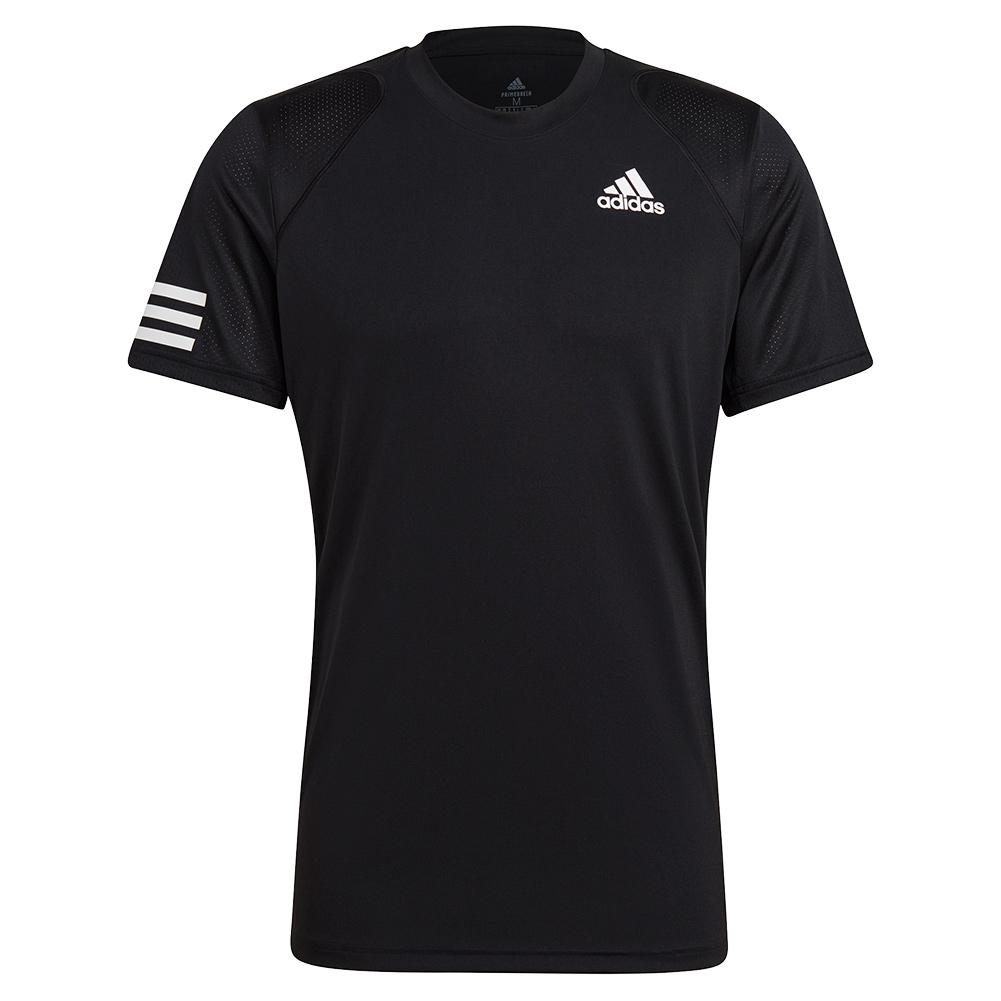 Tennisexpress Men`s Club 3-Stripe Tennis Top Black and White