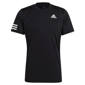 Men`s Club 3-Stripe Tennis Top Black and White