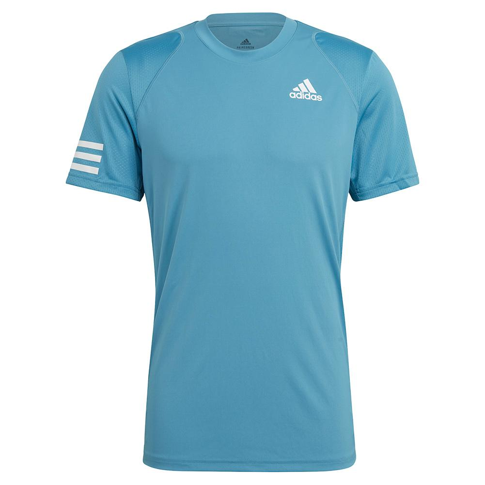 Tennisexpress Men`s Club 3-Stripe Tennis Top Hazy Blue and White