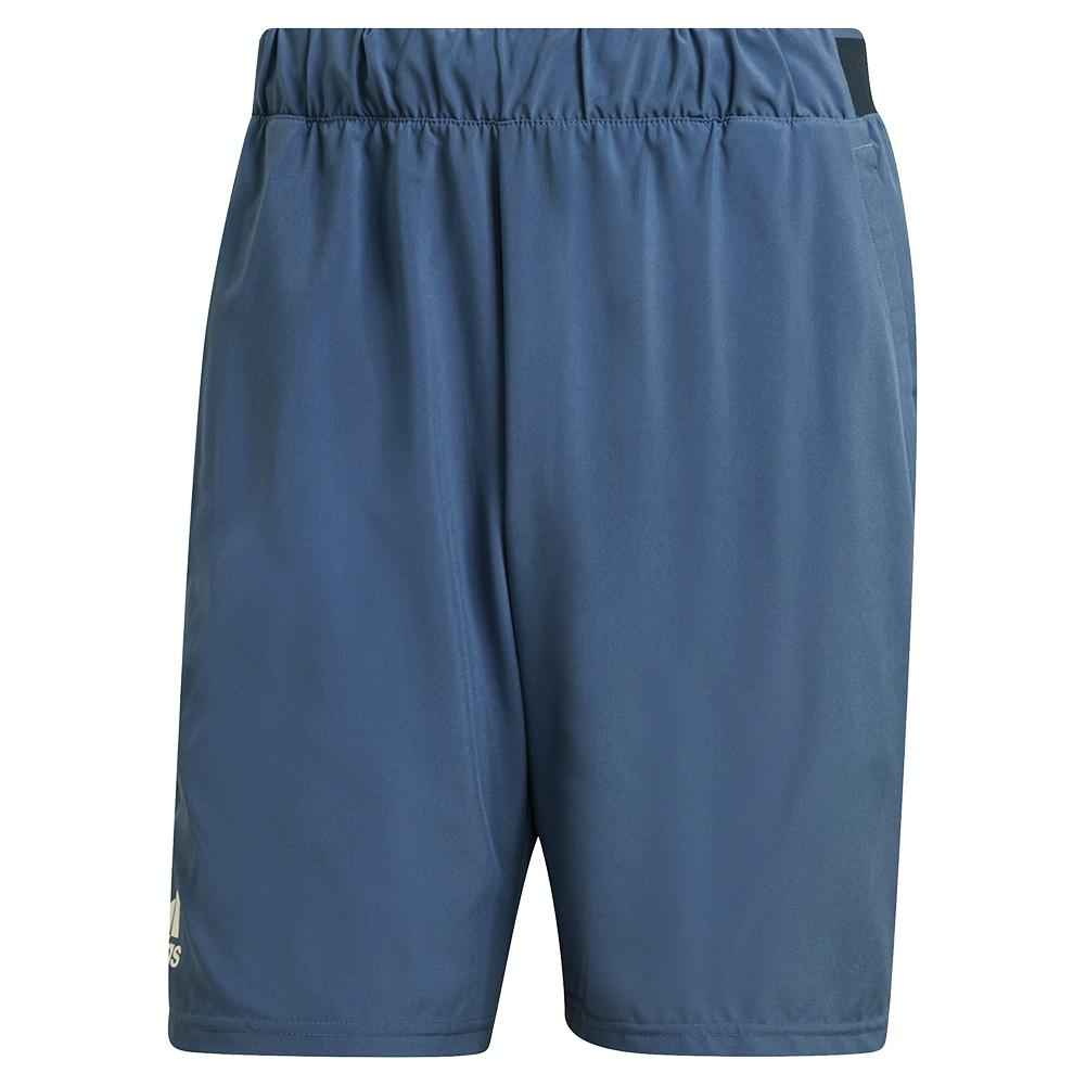 Men's Club Stretch Woven 9 Inch Tennis Short Crew Blue And White