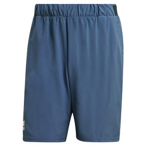 Men`s Club Stretch Woven 9 Inch Tennis Short Crew Blue and White