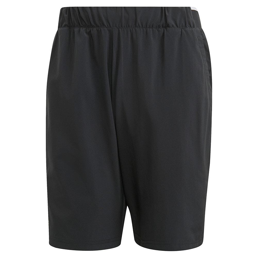 Men's Club Stretch Woven 7 Inch Tennis Short Black And White