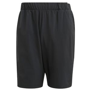 Men`s Club Stretch Woven 9 Inch Tennis Short Black and White