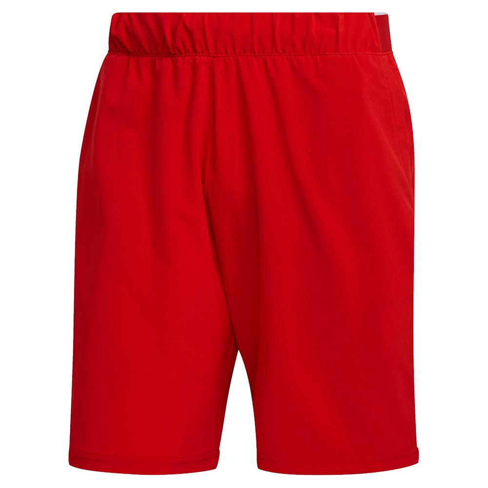 Men's Club Stretch Woven 9 Inch Tennis Short Scarlet And White
