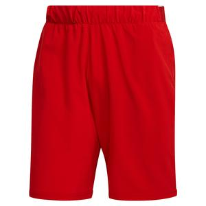 Men`s Club Stretch Woven 9 Inch Tennis Short Scarlet and White