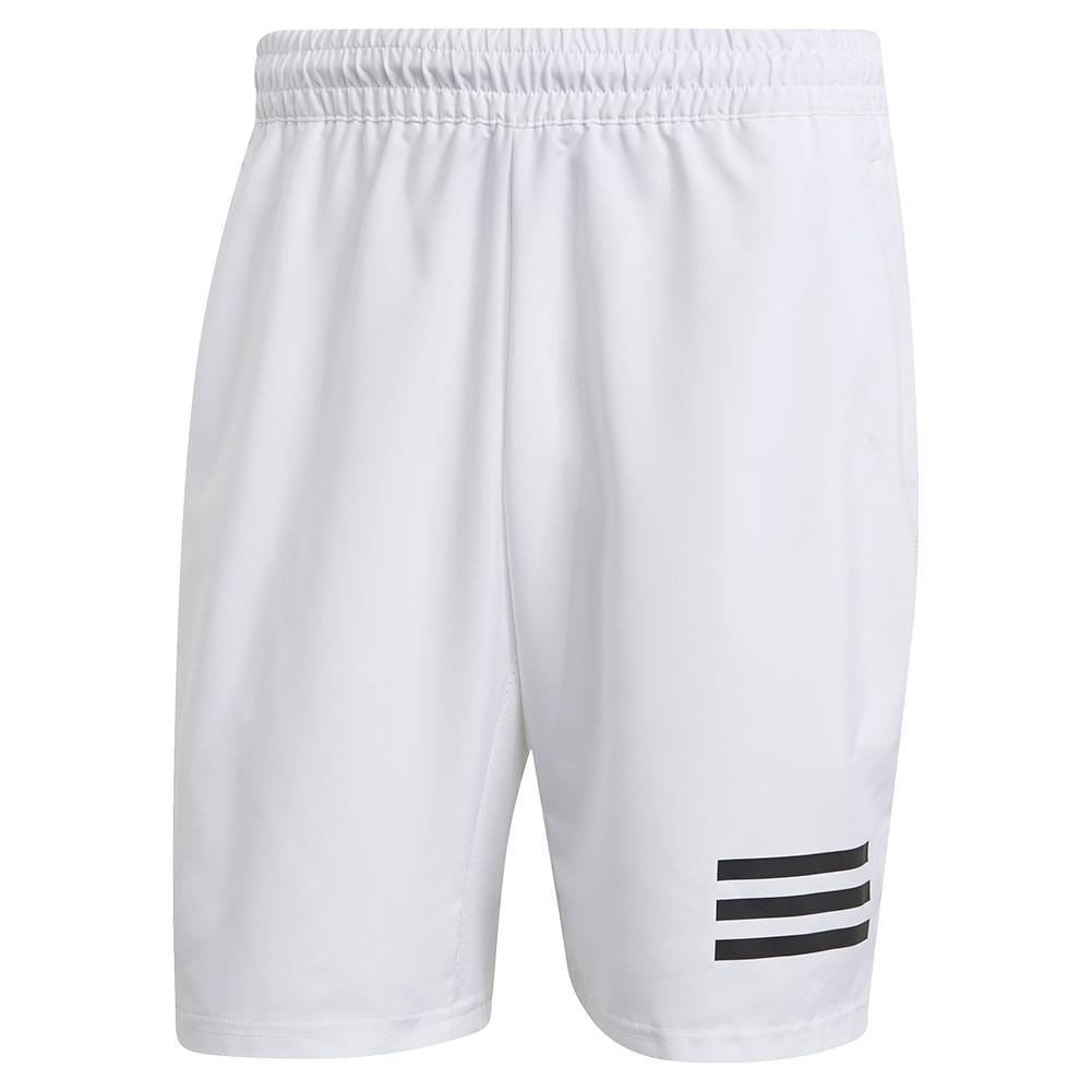 Men's Club 3- Stripe 9 Inch Tennis Short White And Black
