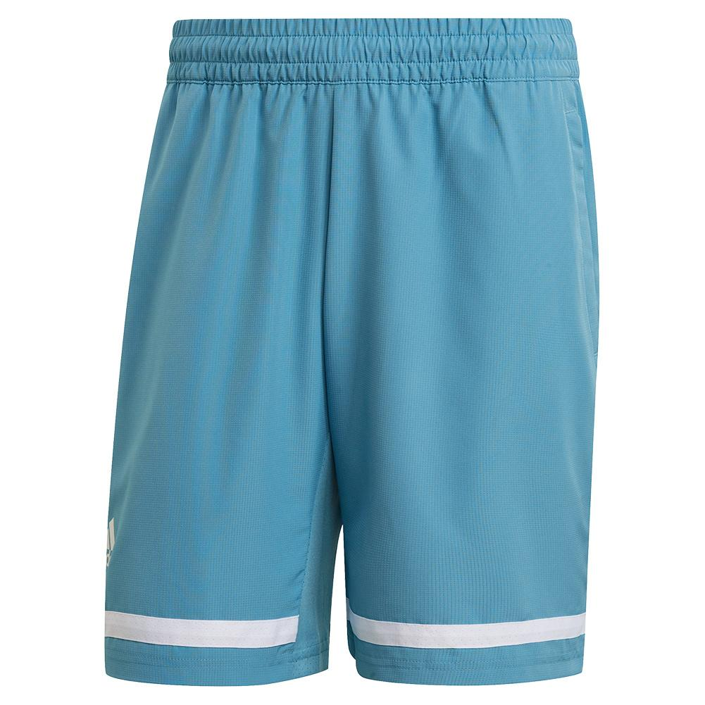 Men's Club 9 Inch Tennis Short Hazy Blue And White