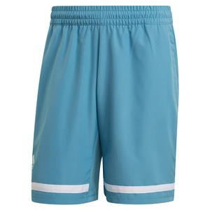 Men`s Club 9 Inch Tennis Short Hazy Blue and White