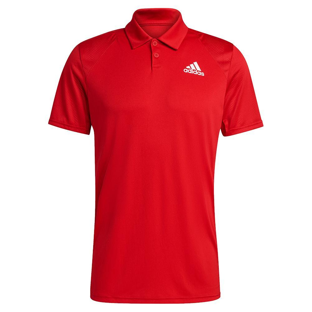 Men's Club 3- Stripe Tennis Polo Scarlet And White