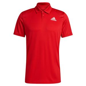Men`s Club 3-Stripe Tennis Polo Scarlet and White
