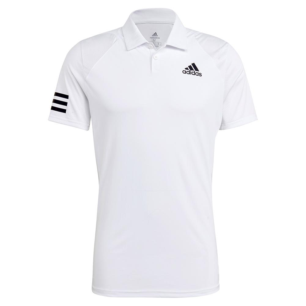 Men's Club 3- Stripe Tennis Polo White And Black