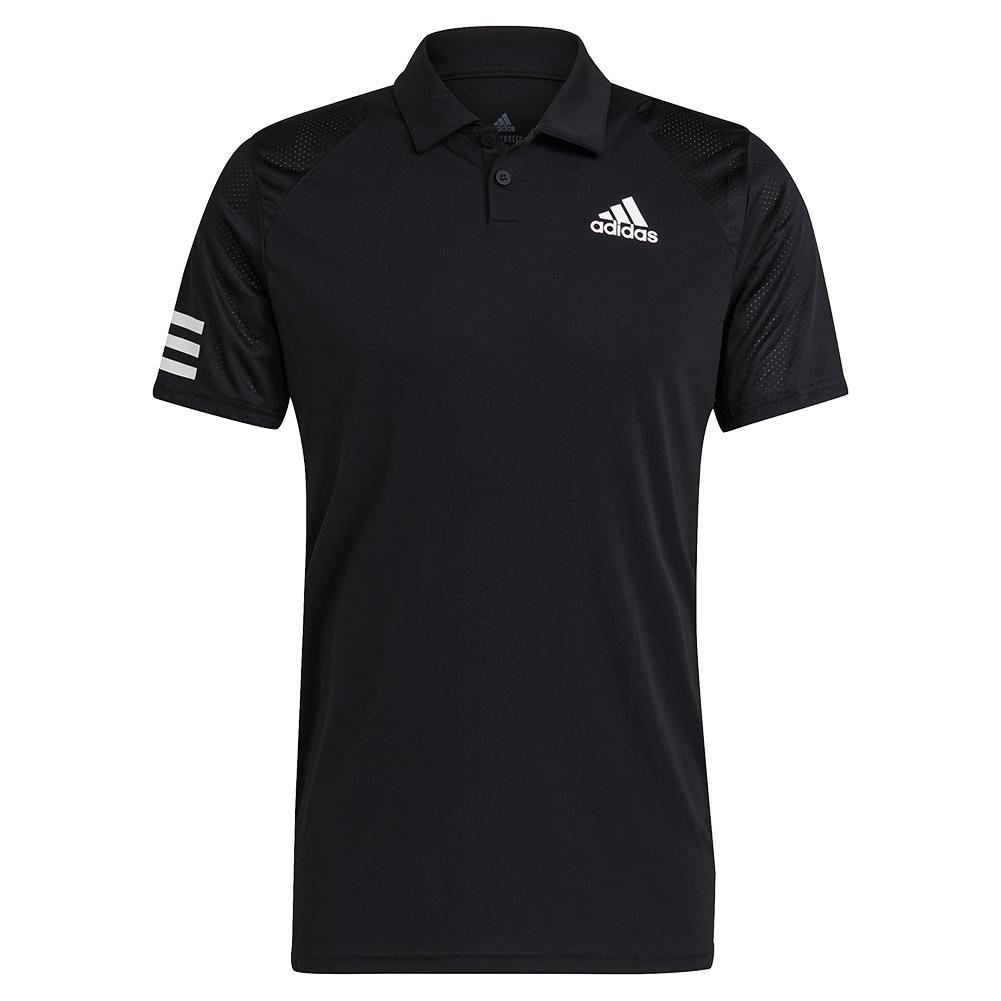 Men's Club 3- Stripe Tennis Polo Black And White