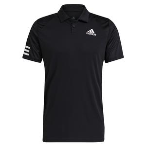 Men`s Club 3-Stripe Tennis Polo Black and White