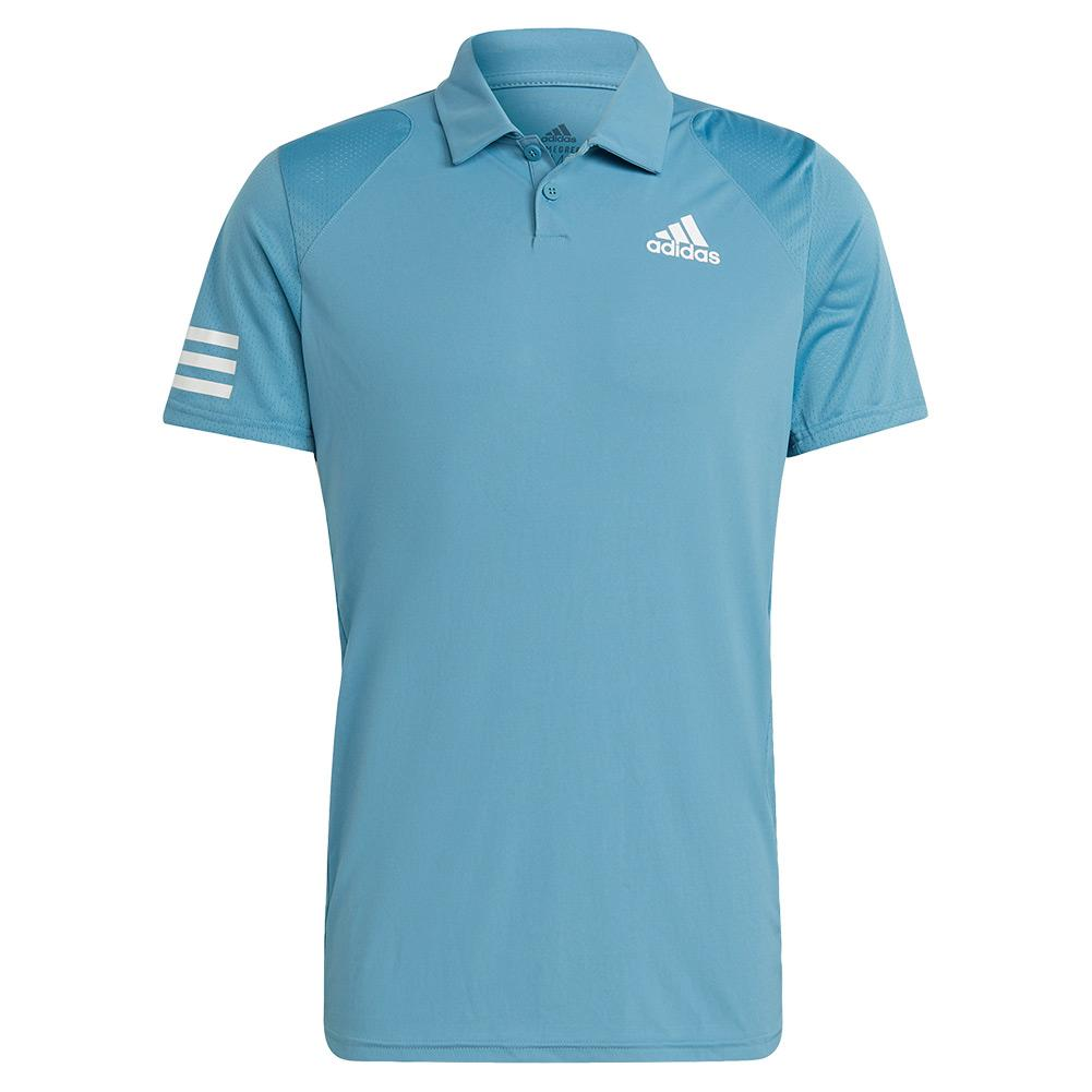 Men's Club 3- Stripe Tennis Polo Hazy Blue And White