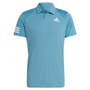 Men`s Club 3-Stripe Tennis Polo Hazy Blue and White
