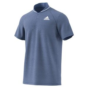 Men`s Club Rib Tennis Polo Crew Blue and White