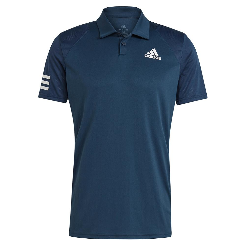 Men's Club 3- Stripe Tennis Polo Crew Navy And White
