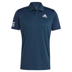 Men`s Club 3-Stripe Tennis Polo Crew Navy and White