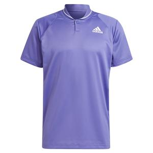 Men`s Club Rib Tennis Polo Purple and White