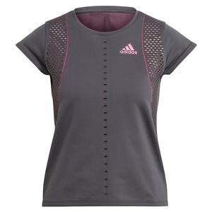 Women`s Primeknit Primeblue Tennis Top Solid Grey and Screaming Pink