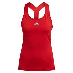 Women`s AEROREADY Y-Back Tennis Tank Scarlet and White