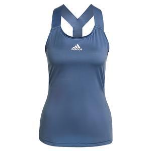 Women`s AEROREADY Y-Back Tennis Tank Crew Blue and White