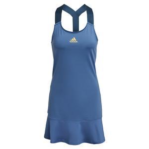 Women`s AEROREADY Y-Back Tennis Dress Crew Blue and Acid Yellow