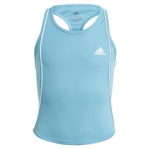 Girls` Pop Up Tennis Tank Hazy Blue and White