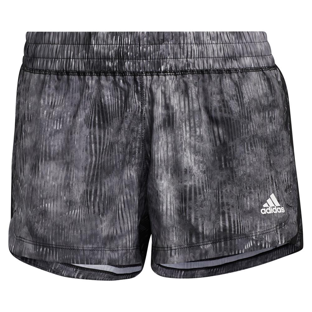 Women's Pacer 3- Stripe Woven Floral Training Short Black And Multicolor